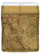 Vintage Map Of Northern California Duvet Cover