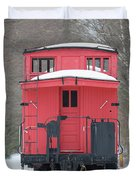 Vintage Red Caboose In Winter Duvet Cover
