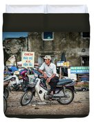 Waiting At The Fish Market, Hoi An, Vietnam Duvet Cover