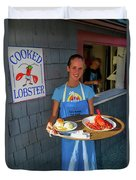 Waitress Serving Lobster  Duvet Cover