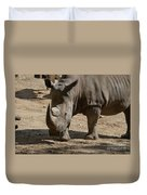 Walking Rhino With One Large Horn And One Small Horn Duvet Cover