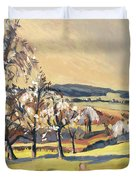 Warm Spring Light In The Fruit Orchard Duvet Cover