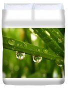 Water Drops On Wheat Leafs Duvet Cover