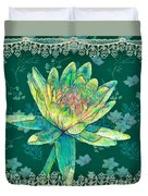 Water Lily And Lace Duvet Cover