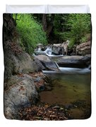 Water Stream On The River With Small Waterfalls Duvet Cover