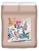 Watercolor - Kitten On My Painting Table Duvet Cover