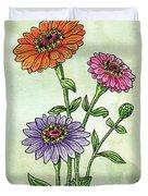 Watercolor Orange Pink Purple Zinnia Flowers Duvet Cover