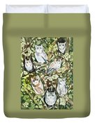 Watercolor - Screech Owl And Forest Design Duvet Cover