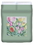 Watercolor - Spring Tulips Duvet Cover