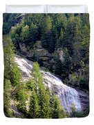 Waterfall In The Mountains. Duvet Cover
