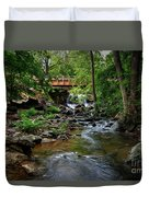Waterfall With Wooden Bridge Duvet Cover
