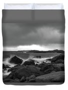 Waves Hitting The Rocks Duvet Cover