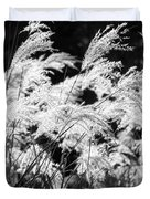 Weed Grass Black And White Duvet Cover