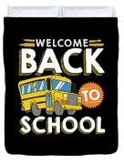Welcome Back To School Kids School Bus Duvet Cover