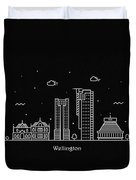 Wellington Skyline Travel Poster Duvet Cover