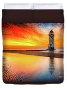 Welsh Lighthouse Sunset Duvet Cover