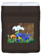 White And Purple Petunia And Marigolds Duvet Cover