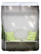 White Bench Made Of Iron With Two Green Bushes On The Side Duvet Cover
