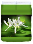 White Honeysuckle Flowers Duvet Cover