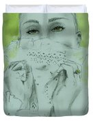 White Lace And Green Eyes Duvet Cover