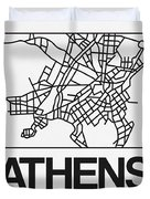 White Map Of Athens Duvet Cover