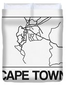 White Map Of Cape Town Duvet Cover