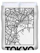 White Map Of Tokyo Duvet Cover