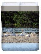 White Pelican Rest Duvet Cover