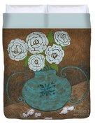 White Roses In Teal Vase Duvet Cover