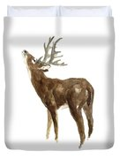 White Tailed Deer Stag With Head Tilted Upwards Duvet Cover