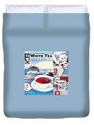 White Tea In Blue And White Duvet Cover