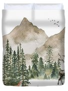 Wild Alaska Travel Poster Duvet Cover by Celestial Images