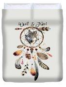 Wild And Free Wolf Spirit Dreamcatcher Duvet Cover