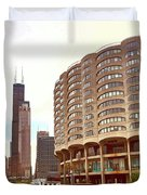 Willis Tower To The Left Duvet Cover by Lorraine Devon Wilke