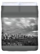 Windy Evening Calgary Downtown Bw Duvet Cover