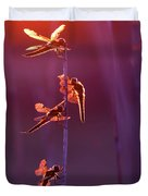 Winged Wonders - Dragonflies At Sunset Duvet Cover