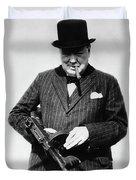 Winston Churchill With Tommy Gun Duvet Cover