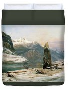 Winter At The Sognefjord - Digital Remastered Edition Duvet Cover