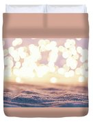 Winter Background With Snow And Fairy Lights. Duvet Cover