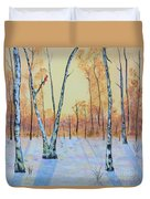 Winter Birches-cardinal Left Duvet Cover