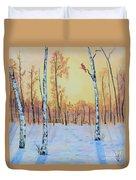 Winter Birches-cardinal Right Duvet Cover