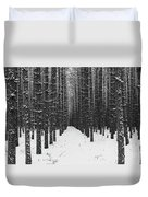 Winter Forest In Black And White Duvet Cover