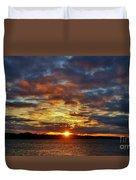 Winter Sunset Over Grand Island Duvet Cover