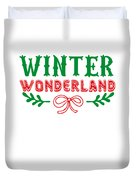Winter Wonderland Christmas Secret Santa Snowing On Christmas Duvet Cover
