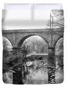 Wissahickon Creek - Reading Viaduct In Black And White Duvet Cover