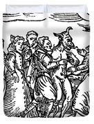 Witches Dancing With The Devil, Illustration From Compendium Maleficarum Duvet Cover