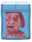 Woman And Blue Background Duvet Cover