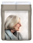 Woman In Grey Duvet Cover