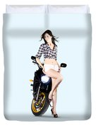 Woman Leaning On A Motorbike Duvet Cover
