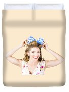 Woman Playing With Hair Tie. Retro Accessories Duvet Cover